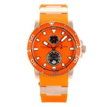 Ulysse Nadin Rose God Case Orange Bezel with Orange Dial Blue Movement