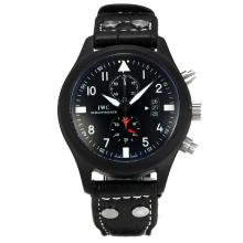IWC Portugueses Working Chronograph Full PVD with Black Dial White Markers