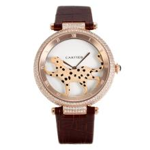 Cartier Panthere de Cartier Rose Gold Case Diamond Bezel with White Dial Leather Strap
