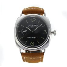 Panerai Radiomir Unitas 6497 Movement with Swan Neck with Black Dial Camel Leather Strap