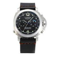 Panerai Luminor Regatta Automatic with Black Dial Black Leather Strap