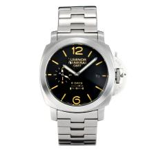 Panerai Luminor 8 Days Working Power Reserve Automatic with Black Dial S/S-Yellow Markers