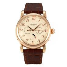 Montblanc Star Power Reserve Automatic Rose Gold Case with Champagne Dial Brown Leather Strap