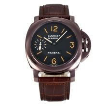 Panerai Luminor Marina Manual Winding Coffee Gold Case with Black Dial Dark Brown Leather Strap-1