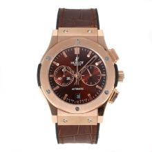Hublot Big Bang Working Chronograph Rose Gold Case with Coffee Dial Coffee Leather Strap