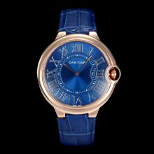 Cartier Ballon bleu de Cartier Rose Gold Case Roman Markers with Blue Dial Oversized Version(Gift Box is Included)