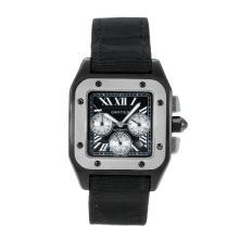 Cartier Santos 100 Automatic PVD Case with Black Dial Nylon Strap