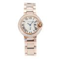 Cartier Ballon bleu de Cartier Full Rose Gold Diamond Bezel with White Dial Sapphire Glass