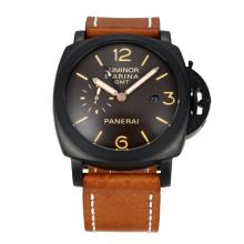 Panerai Luminor Marina Working GMT Automatic PVD Case with Black Dail-Brown Leather Strap