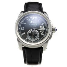 Cartier Calibre de Cartier Automatic with Black Dial Black Leather Strap
