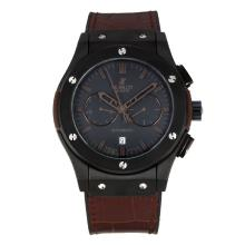 Hublot Big Bang Automatic PVD Case with Dark Grey Dial Brown Leather Strap