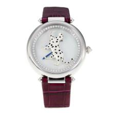 Cartier Masse Secrete Panther Decor with MOP Dial Sapphire Glass-Burgundy Leather Strap