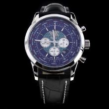 Breitling Transocean Working Chronograph Unitime with Blue Dial Black Leather Strap