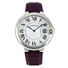 Cartier Ballon bleu Cartier with White Dial Purple Leather Strap