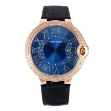Cartier Ballon bleu Cartier Rose Gold Case Diamond Bezel with Blue Dial Black Leather Strap