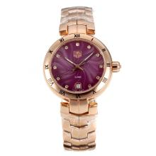 Tag Heuer Link Full Rose Gold Roman Bezel with Burgundy Dial