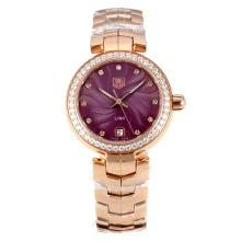 Tag Heuer Link Full Rose Gold Diamond Bezel with Burgundy Dial