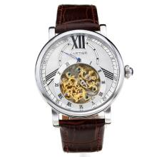 Cartier Classic Automatic with White Dial Brown Leather Strap