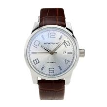 Mont Blanc Classic Automatic with Silver Dial Brown Leather Strap