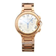 Cartier Ballon bleu de Cartier Working Chronograph Full Rose Gold with White Dial