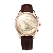 Omega De Ville Working Chronograph Rose Gold Case with Champagne Dial Leather Strap-Sapphire Glass