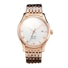 Omega De Ville Swiss ETA 2836 Movement Full Rose Gold with White Dial Sapphire Glass