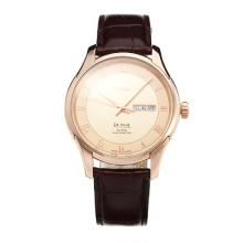Omega De Ville Rose Gold Case with Champagne Dial Leather Strap