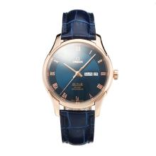 Omega De Ville Rose Gold Case with Blue Dial Leather Strap-1