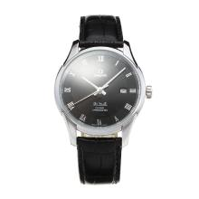 Omega De Ville with Black Dial Leather Strap-1