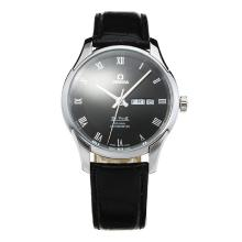 Omega De Ville with Black Dial Leather Strap