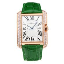 Cartier Tank Diamond Rose Gold Case with White Dial Green Leather Strap