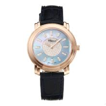 Chopard Happy Sport Rose Gold Case with Light Blue Dial Blue Leather Strap Same Chassis as the Swiss Version