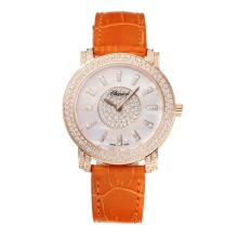 Chopard Happy Sport Diamond Bezel Rose Gold Case with White Dial Orange Leather Strap Same Chassis as the Swiss Version