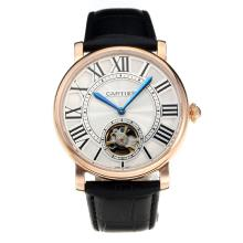 Cartier Classic Automatic Rose Gold Case with White Dial Leather Strap-1