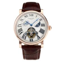 Cartier Classic Automatic Rose Gold Case with White Dial Leather Strap