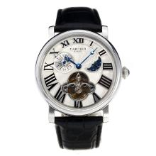 Cartier Classic Automatic with White Dial Leather Strap