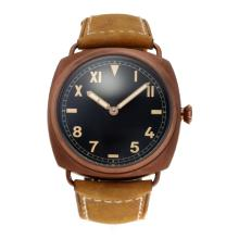 Panerai Radiomir Asia Unitas 6497 Movement with Swan Neck Coffee Gold Case with Black Dial Leather Strap-3