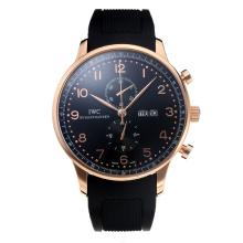 IWC Classic Working Chronograph Rose Gold Case with Black Dial Rubber Strap