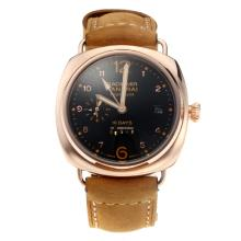 Panerai Radiomir 10 Days Automatic Power Reserve Rose Gold Case with Black Dial Leather Strap