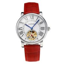 Cartier Rotonde de Cartier Automatic Tourbillion with White Dial Red Leather Strap-18K Gold Plated Movement