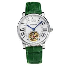 Cartier Rotonde de Cartier Automatic Tourbillion with White Dial Green Leather Strap-18K Gold Plated Movement