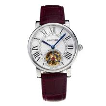 Cartier Rotonde de Cartier Automatic Tourbillion with White Dial Purple Leather Strap-18K Gold Plated Movement
