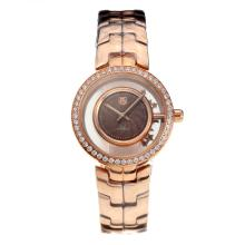 Tag Heuer Link Full Rose Gold Diamond Bezel with Coffee Dial