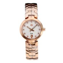 Tag Heuer Link Full Rose Gold with White Dial Diamond Markers