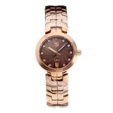 Tag Heuer Link Full Rose Gold with Coffee Dial Diamond Markers