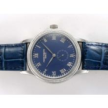 Patek Philippe Calatstrava Manual Winding with Blue Dial Fluted Bezel