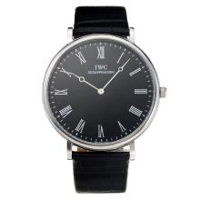 IWC with Black Dial Leather Strap