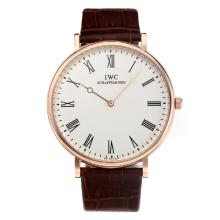 IWC Rose Gold Case with White Dial Leather Strap