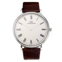 IWC with White Dial Leather Strap