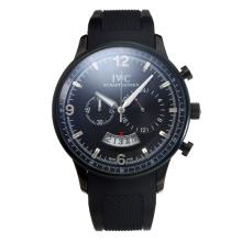 IWC Working Chronograph PVD Case with Black Dial Rubber Strap-2